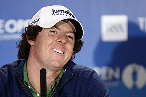Rory McIlroy addresses the media at St. Andrews.