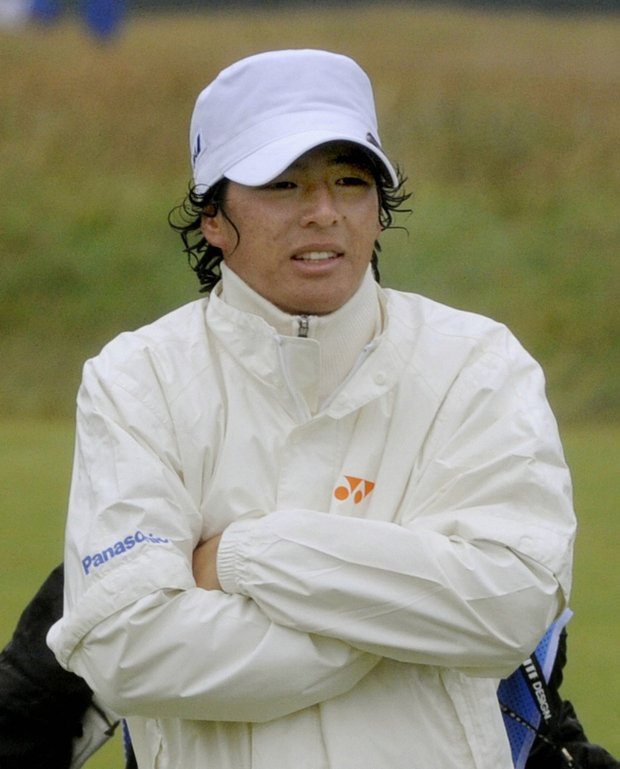 Ryo Ishikawa shivers during a practice round for the British Open.