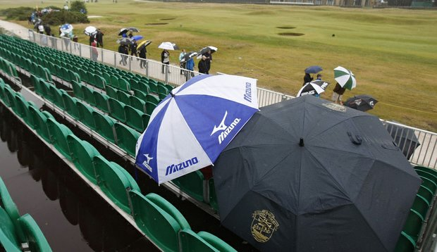 Spectators watched a practice round Wednesday at the Old Course.