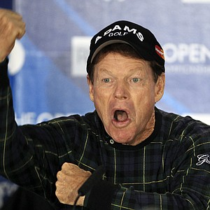 Tom Watson jokes during a press conference prior to the British Open.