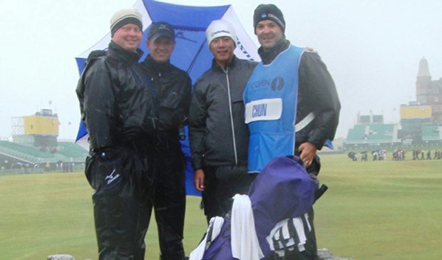From left to right: Northwestern head coach Pat Goss, former Northwestern star Luke Donald, Eric Chun and Steve Bailey.