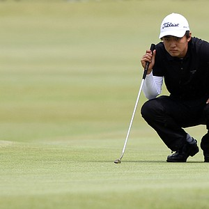Jeong Jin lines up a putt at the 17th during Round 1 of the British Open.