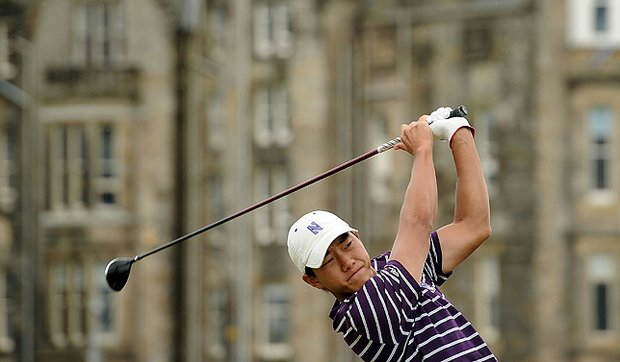 Eric Chun (Amateur) of South Korea tees off on the 2nd hole during the first round of the 139th Open Championship in St Andrews, Scotland. He subsequently missed the cut.