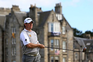 Lee Westwood hits a shot at the second hole at St. Andrews.