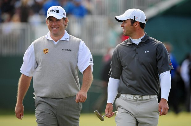 Lee Westwood and Paul Casey have a laugh at the British Open.