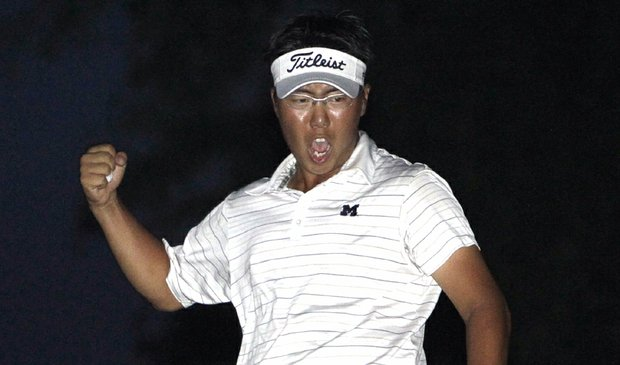 Lion Kim celebrates after sinking a putt to win the 2010 U.S. Amateur Public Links Championship.