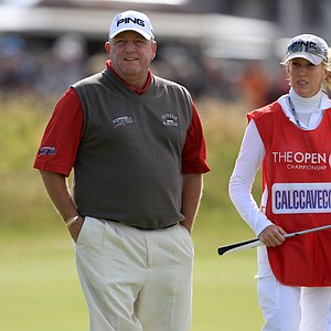 Mark Calcavecchia – with wife and caddie Brenda – started Round 3 of the British Open in second place before sliding down the leaderboard.