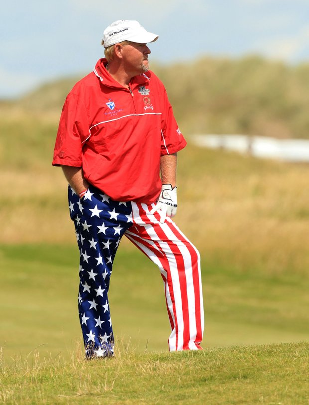 John Daly waits on the 15th fairway during the final round of the British Open.