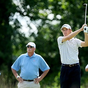 Jordan Spieth of Dallas, Texas hits his tee shot at No. 9. Spieth posted a 67 during Monday's round of stroke play.