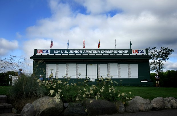 The scoreboard during Monday stroke play of the 63rd U. S. Junior Amateur Championship.