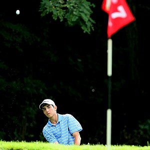 Anthony Paolucci of Del Mar, Calif., chips up to No. 7 during Tuesday stroke play. Paolucci shot a second round 71.
