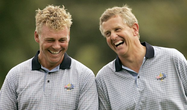 Darren Clarke, left, and Colin Montgomerie share a laugh during practice for the 35th Ryder Cup matches in 2004.