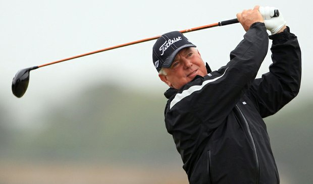 Mark O'Meara plays a shot off the third tee during the first round of the British Open.