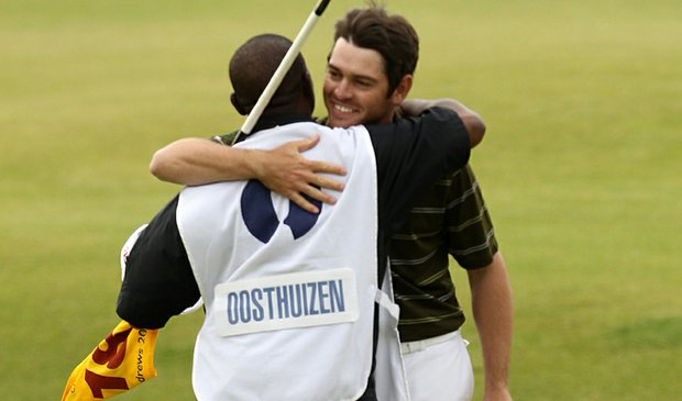 Louis Oosthuizen and caddie Zack Rasego