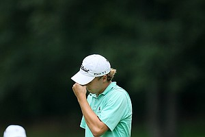 Jordan Spieth reacts to his third shot at No. 18 during Wednesday's Round of 32. Spieth lost to Robby Shelton.