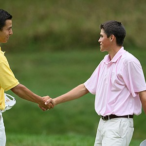 Gavin Hall of Pittsford, N. Y. beat Alexander Schauffele 1 up during Wednesday's Round of 32.