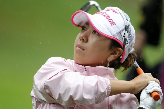 Mika Miyazato during the second round of the Evian Masters.