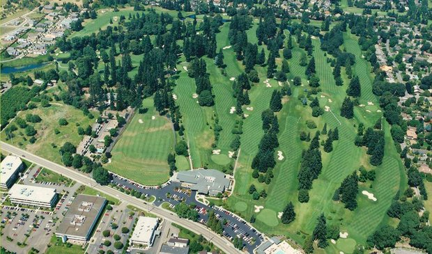 Aerial view of Eugene (Ore.) Country Club, host of the Pacific Coast Amateur Championship.