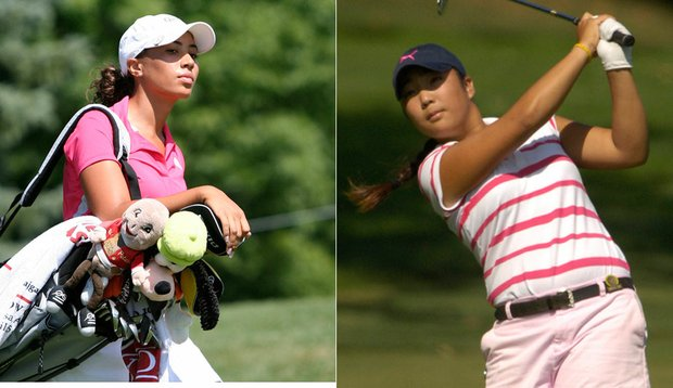 Wake Forest's Cheyenne Woods and Michelle Shin.