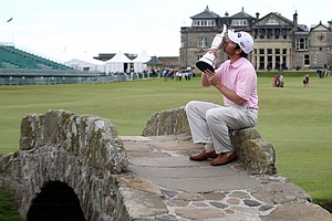 Louis Oosthuizen after winning the 2010 Open Championship at the Old Course at St. Andrews.