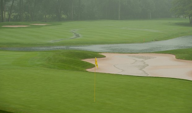 Sycamore Hills Golf Club during a rain delay at the Junior PGA Championship.