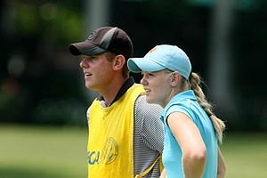 Amy Anderson, the 2009 U. S. Girls Junior champion with caddie/brother at No. 1 during Monday stroke play.