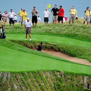 Tiger Woods plays a shot during a practice round prior to the start of the 92nd PGA Championship at Whistling Straits.