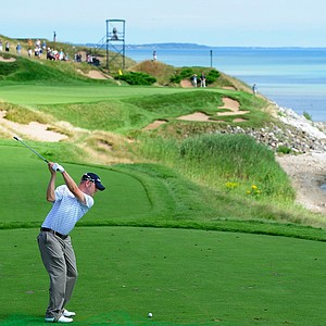 Ryan Benzel plays a shot during a practice round prior to the start of the 92nd PGA Championship at Whistling Straits.