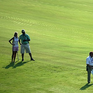 Paula Reto of South Africa hits a shot from the 18th fairway during Tuesday stroke play.