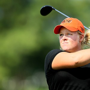 Caroline Hedwall of Sweden watches her tee shot at No. 10. Hedwall shot a 69 on Tuesday.