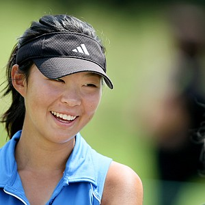 Erynne Lee is all smiles after shooting 66 during Tuesday stroke play.