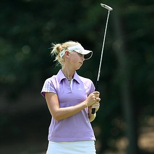 Jessica Korda reacts to missing her putt at No. 9.