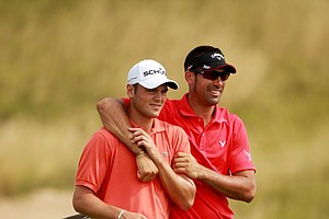 Alvaro Quiros (right) walks with Martin Kaymer during a practice round at the PGA Championship.