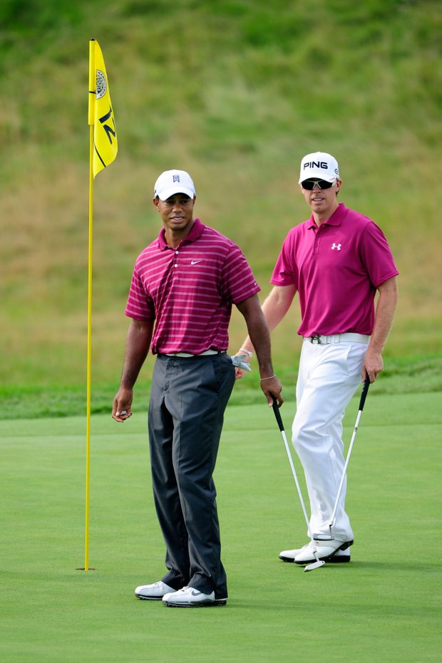 Tiger Woods and Hunter Mahan practice Aug. 10 at Whistling Straits.