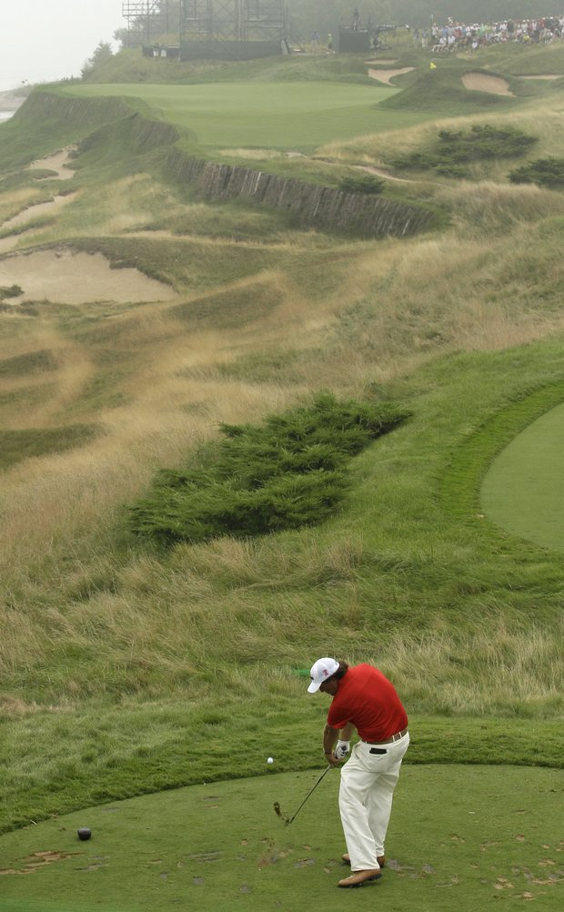 Phil Mickelson on the 17th hole at Whistling Straits during a practice round for the PGA Championship.