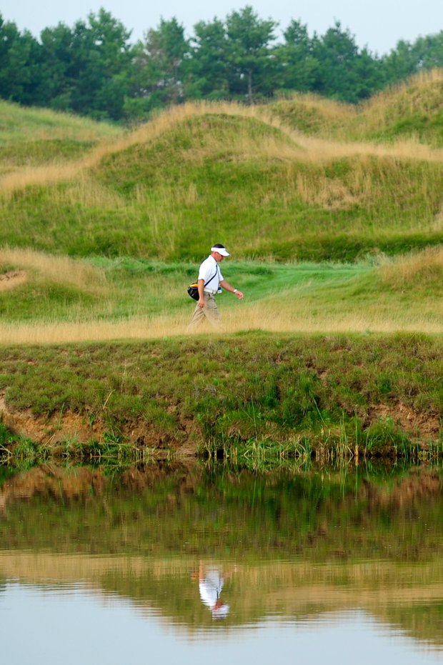 Instructor Sean Foley during a practice round at the PGA Championship.