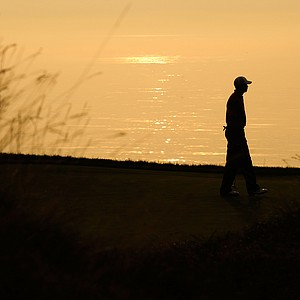 Tiger Woods during a practice round prior to the start of the PGA Championship.