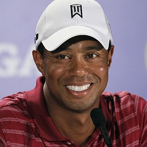 Tiger Woods addresses the media Aug. 10 at the PGA Championship.