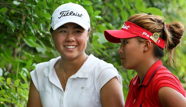 Danielle Kang, left, and Grace Na after their Round of 64 match at the U.S. Women's Amateur.