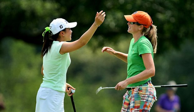 Cydney Clanton, right, defeated Tiffany Lua in the Round of 64 at the U.S. Women's Amateur.