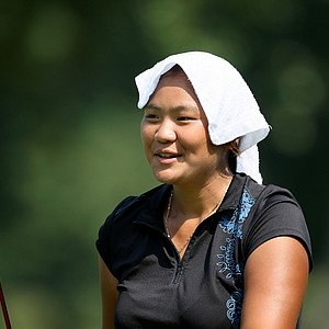 Junthima (Numa) Gulyanamitta attempts to keep cool during Thursday's  Round of 16.