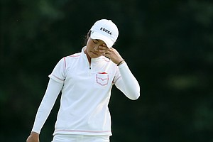 Jungeun Han reacts to a putt at her 19th hole of the round during Thursday's  Round of 16 . She lost to Sydnee Michaels.