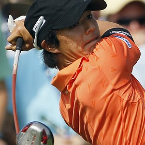 Ryo Ishikawa hits a drive on the 10th hole during the first round of the PGA Championship.
