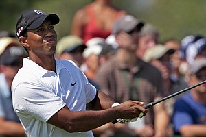 Tiger Woods during the first round of the PGA Championship at Whistling Straits.