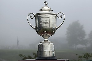 The Wanamaker trophy is seen on the first tee during a fog delay before the start of the first round of the PGA Championship.