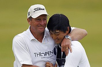 Coach Trevor Flakemore and his star pupil Jin Jeong.