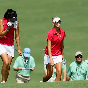 Erynne Lee, left, and Jessica Korda walk up to No. 5 during Friday's quarterfinals.