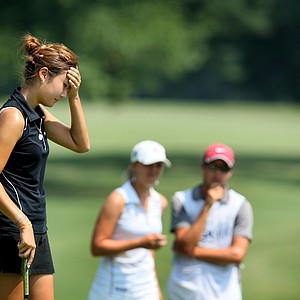 Kristen Park reacts to missing her putt at No. 11 during Friday's quarterfinals. Park lost to Kirby 6 & 4.