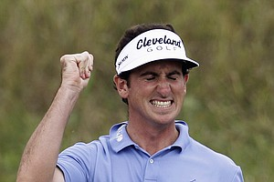 Gonzalo Fernandez-Castano reacts to a chip on the first hole during the second round of the PGA Championship.