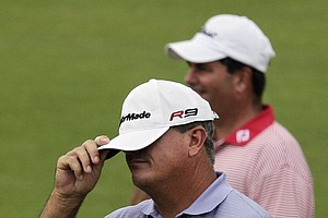 Paul Goydos reacts after missing a putt on the 14th hole during the second round of the PGA Championship.